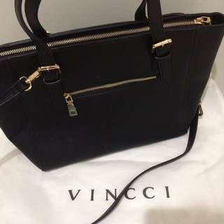 Vincci Black 2 way Handbag