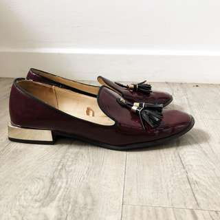 Zara Maroon Patent Loafers