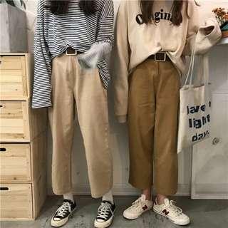 高腰寬褲(左 杏色)