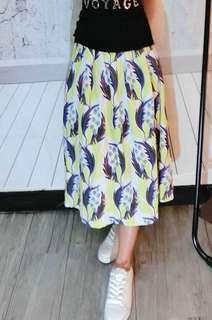 鮮豔幾何棉麻長裙