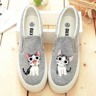 "[InStock] Ulzzang ""Kittens"" Thick-Soles Canvas Shoes"