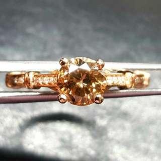 全天然 鑽石18k玫瑰金戒指