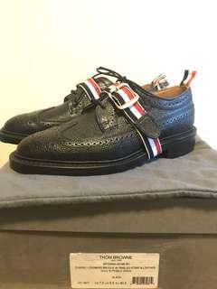 Thom Browne Stripe Buckle Longwing Brogue Shoes