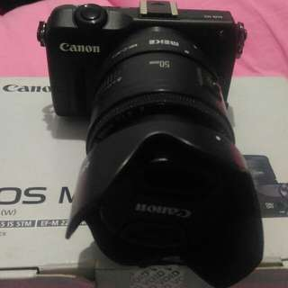 Canon eos M2+ adapter new+ canon 50mm f1.8 filter and hood