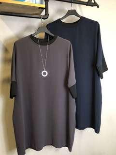 正韓咖啡色藍色長版短袖配色懶人文青口袋oversize 大尺碼孕婦媽媽洋裝