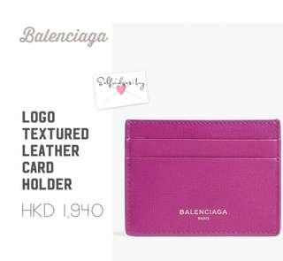 Balenciaga Logo textured leather card holder