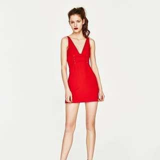 Zara 紅色緊身短裙 全新 S