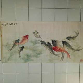 Chinese painting ten carps with water plants Painting size 128x63cm perfect