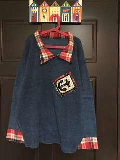 格子領毛衣
