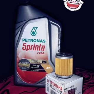 Engine oil Petronas F700 15w50 + Ori yamaha filter