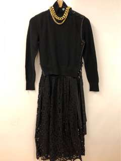 Sacai black knitted with lace dress size 1