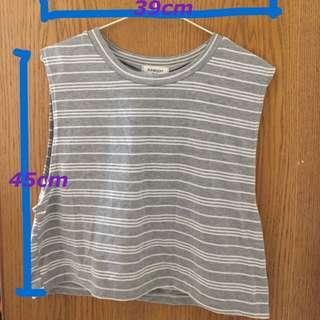 兩件式灰色條紋短版棉質背心