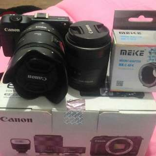 Canon eos M2+adapter new+ lens canon 50mm f1.8 filter and hood+18-55mm STM