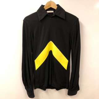 New Celine black and yellow leather sweater size 36