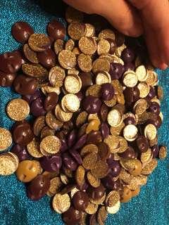 Purple gold glitter buttons brand new