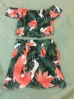 NEW Flowery Top and Skirt Set