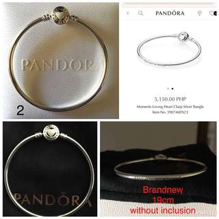 Brandnew Pandora Loving Heart Clasp Bangle 19cm