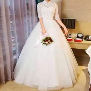 樽領復古式中袖齊地白色婚紗Wedding Dress