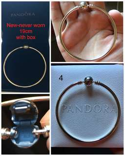 Never worn Pandora Moments Silver Bangle 19cm