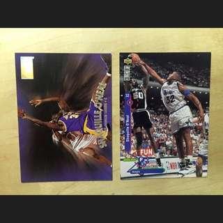 NBA 明星卡 Upperdeck Shaquille O'Neal 洛杉磯湖人 Los Angeles Lakers 奧蘭多魔術 Orlando Magic 共2張