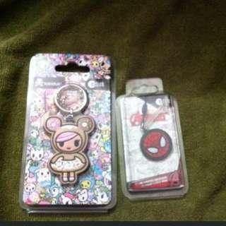 Ezlink charm set - donutella tokidoki and Spiderman