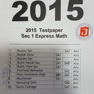 2015 Sec 1 Express Math Test Papers