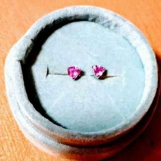 靚靚18k金 紅寶石心型耳環一對