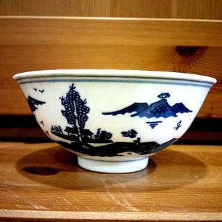 "5"" China Blue/white Oriental Rice Bowl"