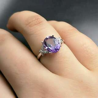 Purple Amethyst 925 Sterling Silver Ring For Women