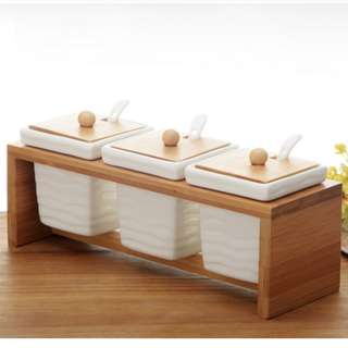 Wooden Spices Jar Set