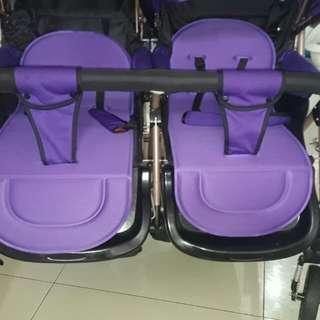Purple baby twin stroller