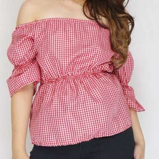 Red Checkered Off Shoulder Top| NO MEET UPS!