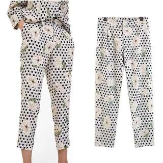 Inspired Zara Printed Flowing Elastic Waist Trousers