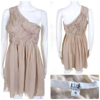 正品全真絲Tibi Nude Silk One Shoulder A Line Mini Dress Size 8