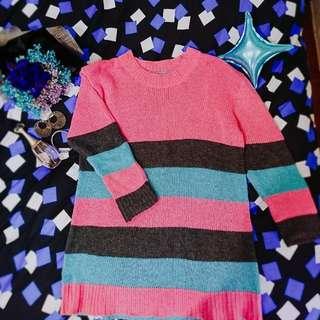 🏵粉色-三色條紋針織洋裝
