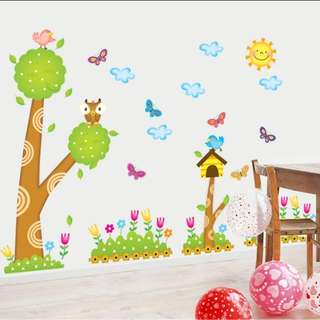💥( 4 Designs . $10 Each ) Children's Room Bedroom Decorative Cartoon Animal Forest Party Bird Tree wall sticker House Butterfly Paradise Wallpaper Waterproof Sticker Home decor ( Raw sticker 90x60cm )