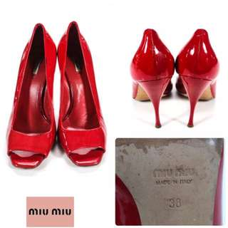 二手正品Miu Miu 超美正紅Bright Red Patent Leather Open Toe Pumps Size 38