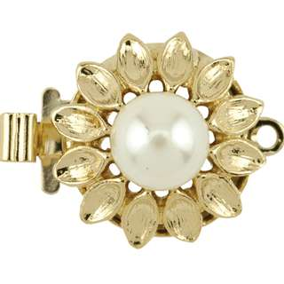 🚚 BEADALON Upper Clasp Findings, Round Petal Imitation Pearl (Gold Plated)