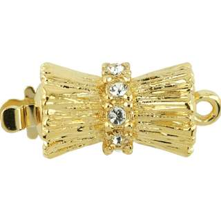🚚 BEADALON Upper Clasp Findings, Double Cone 10 Crystal (Gold Plated)