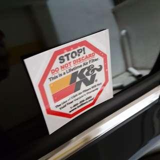 K&N filter car decal