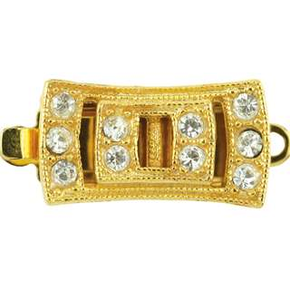 Beadalon Upper Clasp Findings,Rectangle 10 Crystal, Gold Plated