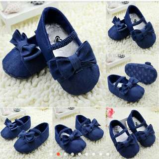 Baby girls cute toddler bow not soft sole shoes