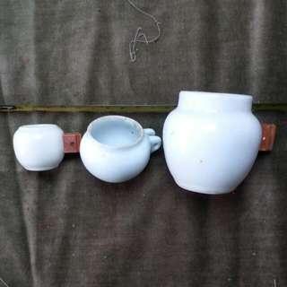 早期 白瓷雀杯 3個