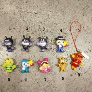 日本 麵包超人 細菌人 小病毒 吐司超人 咖哩麵包超人 奶油犬 迷你 擺飾 裝飾 玩具 絕版 收藏 可愛 稀有 toy