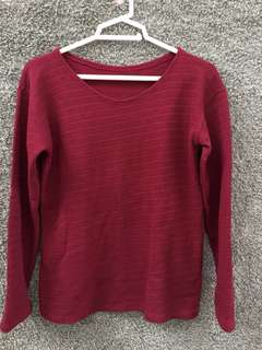 Plain Maroon Knitted Pullover