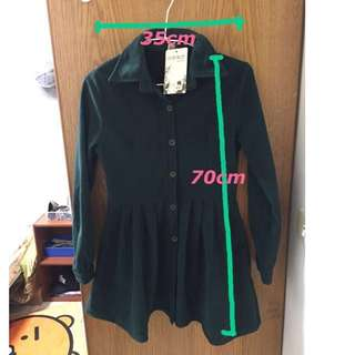全新-深綠色襯衫傘擺洋裝