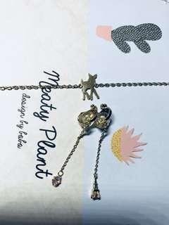 小鹿斑比手鍊+巴黎鐵塔粉鑽夾式耳環