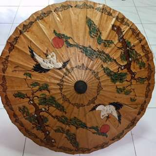 Chinese oriental deco bamboo oiled-paper vintage Umbrella