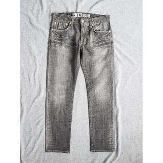 31腰 Edwin 503 愛德恩 紅線 復古灰岩水洗 潮流修身小直筒 牛仔褲 長褲 二手 休閒褲