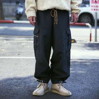 🌴藏青色防風復古工作褲 縮口褲 男女就可Vintage 日本帶回古著